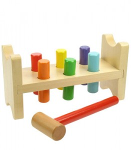 This wooden hammer bench goes back to basics for toddlers. Picture: Kiddicare.com