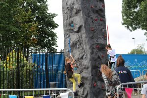 Rock climbing at our Olympic day, 2016